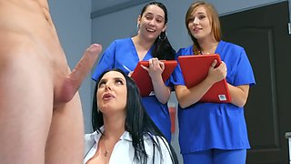 Amazingly hot brunette doctor teaches her nurses a lesson
