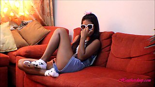 tiny thai teen oriental teen heather deep give deep throat and get huge facial on glasses