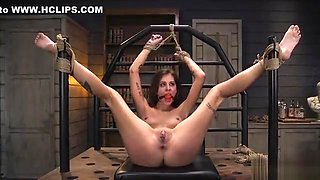 Hot student bdsm banged in threesome