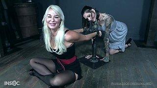 Blonde mature slut in igh heels abused hardcore in a bondage session