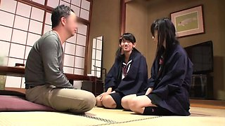 Two adorable Asian schoolgirls banged hard by the same guy