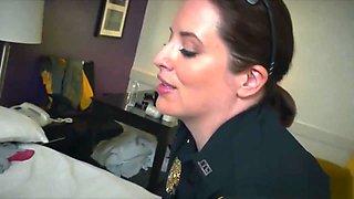 Lady cops cockriding black dick in threeway