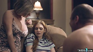 Innocent teen lured into taboo foursome by stepsiblings