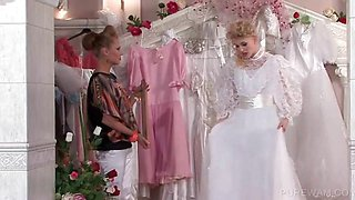 WAM lesbo in bride dress gets wet