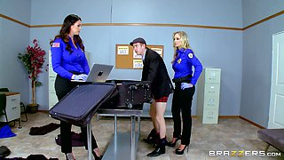 Pair of uniformed ladies letting the guy penetrate their sweet pussies