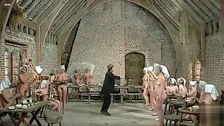 Nude dance party in lusty English movie clip