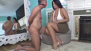 Sexy Mistress denies release to her chaste slave
