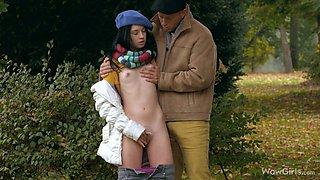 Naive Teen Shows Skinny Body To Stranger