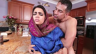 Sweet Arab girl gives him a blowjob and bends over for that cock