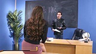 Brazzers - Big Tit teacher Abigail Mac gives student some Discipline
