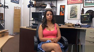 Pretty babe screwed by nasty pawn keeper in his office