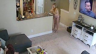 SERIES 1 Pregnat MILF Tits in Livingroom Hacked Cam