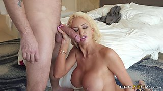 Cheating blonde MILF Nicolette Shea pounded and gets cum