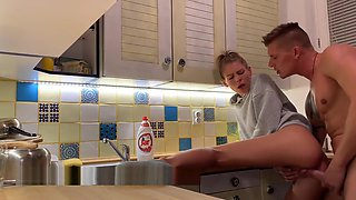 fucking in the kitchen And creampie