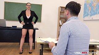 YOUMIXPORN Busty Teacher Cathy Heaven fucks horny student