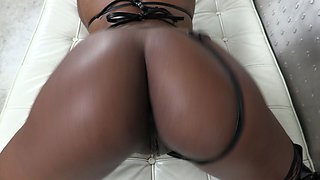 Fat White Dick in Black Petite Chick's Ass