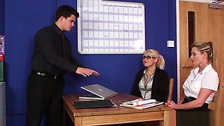 Clothed Office Brits Jerk Dick for Sperm