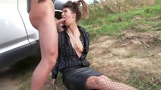 Brunette Hooker Gets a Brutal Facefuck