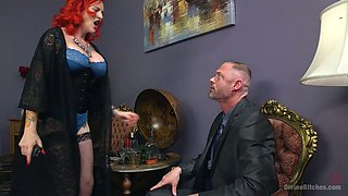 Buxom mistress Mz Berlin fucks anus and enjoys cock crushing
