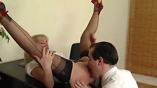 Sexy blond in FF stockings gives amazing blowjob