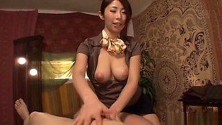 Sexy Japanese masseur giving an arousal massage