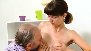 Sensual schoolgirl is tempted and fucked by senior me21oRJ