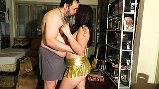 Cute young babe with a perfect ass has sex with an older guy