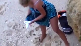 Husband films his wife gets anal fucked by tourist on beach