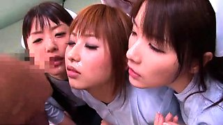 Hot Asian girls in uniform share their love for cock and cum