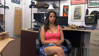 Cute woman screwed by nasty pawn keeper in his office