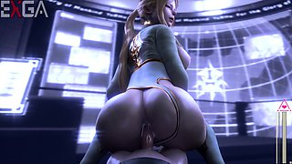 Sensuous 3D girl with a magnificent booty rides a big cock