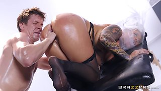 Oily ass fisting and a fuck with a creampie for Karmen Karma