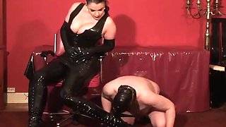 tall German dominatrix vs short slave