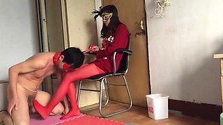 Chinese red pantyhose footjob