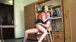 Two college lovers are in the middle of passionate banging