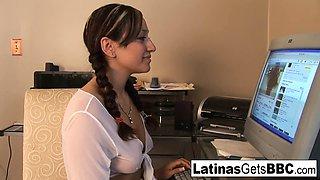 Cute Latina schoolgirl takes a study break for BBC