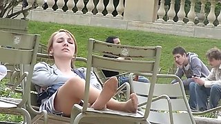 Highly Hot Candid Nylon Feet Outdoors