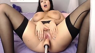 Hot brunette fuck machine