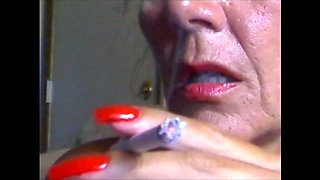 lovely sexy smoking with super sexy  red nails fingernails