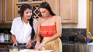 Young lesbian stepmom Celeste Star makes teen Adria Rae cum