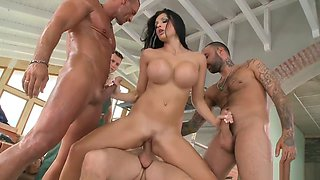 A hardcore fuck with sexy babe Aletta Ocean and four huge cocks