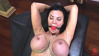 Voluptuous MILF Jasmine Jae abused with toys and cock in stockings