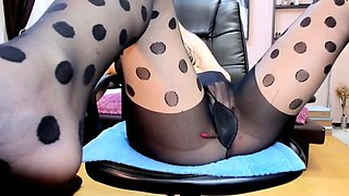 webcam dotted pantyhose