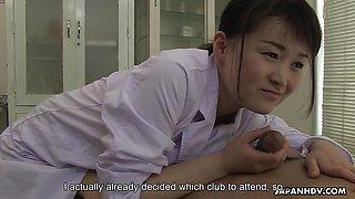 Naughty Japanese Sayaka Aishiro sucks dick at work uncensored