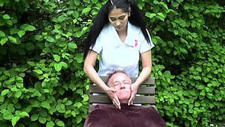 Gipsy teen nurse cures her old patient in the garden