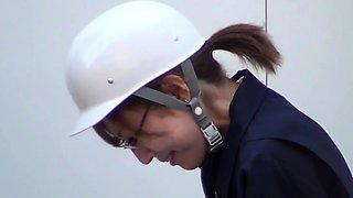 Asian lady boss peeing