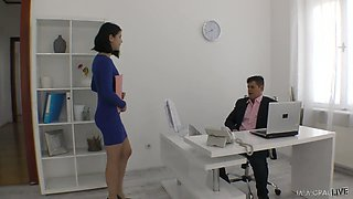 Yummy young secretary Lady Dee plays with hard dick of her horny boss
