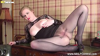 Sexy secretary strips down for spunk on her pantyhose pussy
