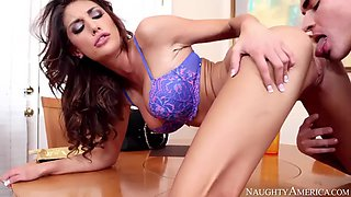 August ames fucking in the table with her athletic body