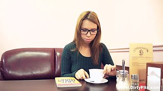 Lovely gal in glasses Iva Zan gets her tight Russian pussy fucked on table